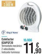 Oferta de Calefactor 02APSF20 Kingh d'Home  por 11,9€