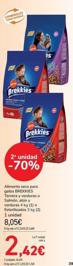 Oferta de Alimento seco para gatos BREKKIES Ternera y verduras o Salmón, atún y verduras o esterilizados  por 8,05€