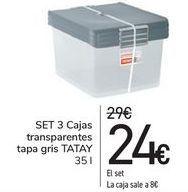 Oferta de SET 3 Cajas transparentes tapa gris TATAY  por 24€