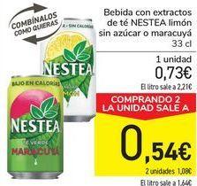 Oferta de Bebida con extractos de té NESTEA Limón sin azúcar o maracuyá  por 0,73€