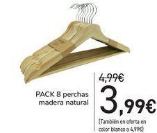 Oferta de PACK 8 perchas madera natural  por 3,99€