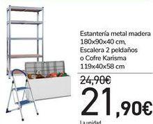 Oferta de Estantería metal madera 180x90x40 cm, Escalera 2 peldaños o Cofreo Karisma  por 21,9€