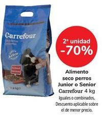 Oferta de Alimento seco perros Junior o Senior Carrefour, iguales o combinados  por