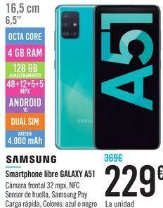 Oferta de Smartphone libre GALAXY A51 SAMSUNG  por 229€