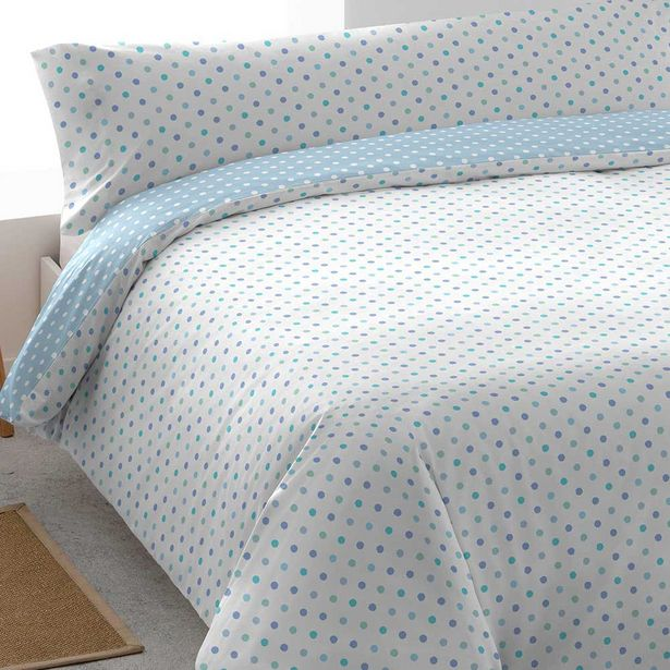 Oferta de Funda nórdica algodón Pecas celeste 90 por 14€