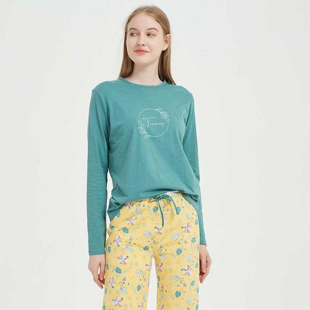 Oferta de Pijama largo algodón Maria mostaza por 10,99€