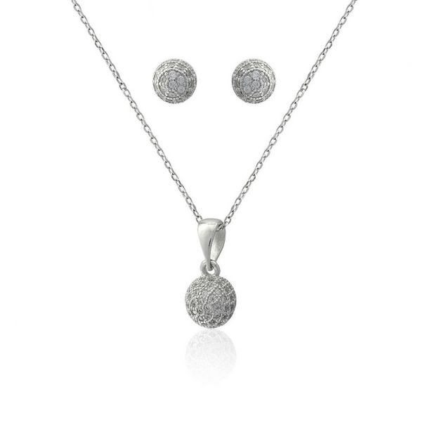 Oferta de Conjunto plata y circonitas esfera por 24€