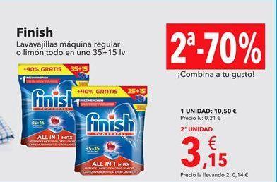 Oferta de Finish Lavavajillas máquina regular o limón todo en uno 35+15 lv por 10,5€