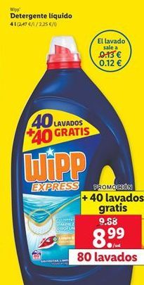 Oferta de Detergente líquido WiPP Express por 8,99€