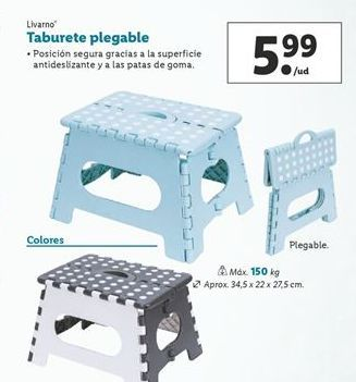 Oferta de Taburete plegable Livarno por 5,99€