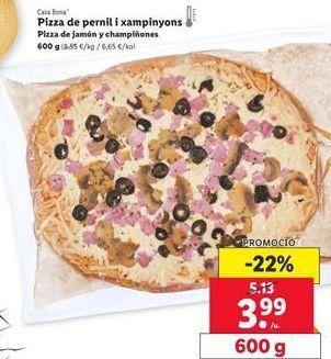 Oferta de Pizza de jamón y champiñones Casa Bona  por 3,99€