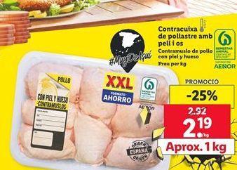 Oferta de Contramuslos de pollo con piel y hueso por 2,19€