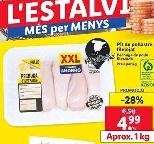 Oferta de Pechuga de pollo fileteada por 4,99€