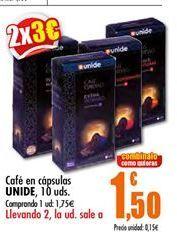 Oferta de Cafe en capsulas UNIDE, 10 uds por 1,75€