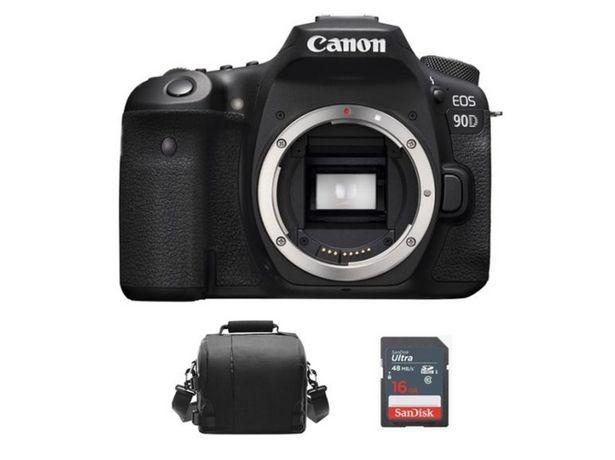Oferta de Kit Cámara Réflex CANON 90D + Bolsa + 16GB SD por 1471,81€