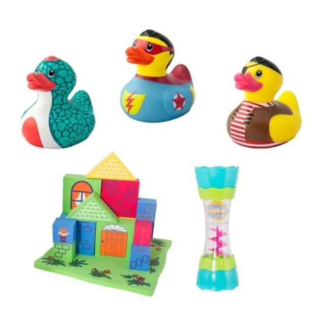 Oferta de Juego construcción bañera + juguete agua + 3 patitos de goma por 30,75€