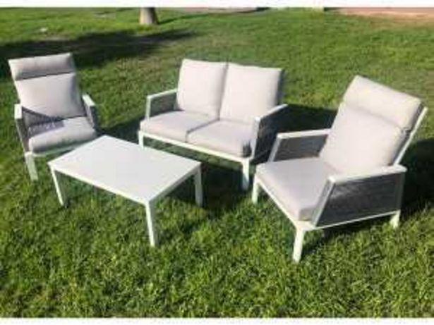 Oferta de Tresillo + mesa centro «KUTA» aluminio blanco por 890€