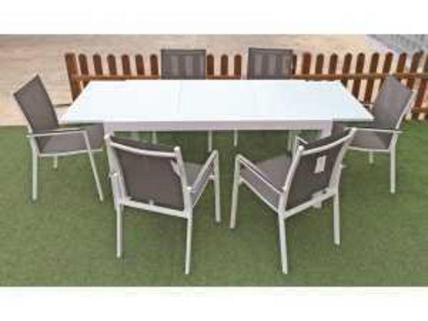 Oferta de Conjunto Jardín Mesa Extensible + 6  Sillas Aluminio Mod. S16004 blanco por 659€