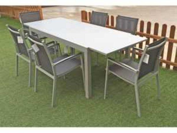 Oferta de Conjunto Jardín Mesa Extensible + 6  Sillas Aluminio Mod. S16004 gris por 790€