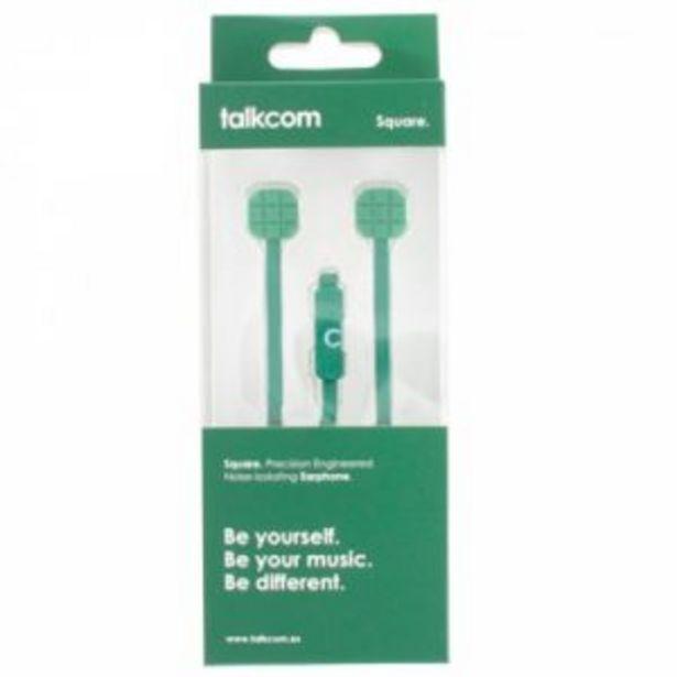 Oferta de Auriculares Botón con Cable Talkom Square Verde por 3€