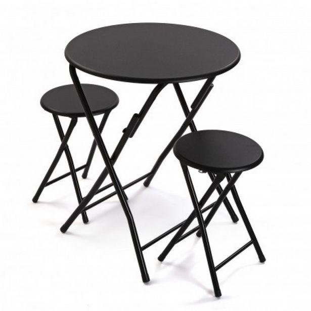 Oferta de Juego de mesa y 2 sillas color negro 21810048 por 89,9€