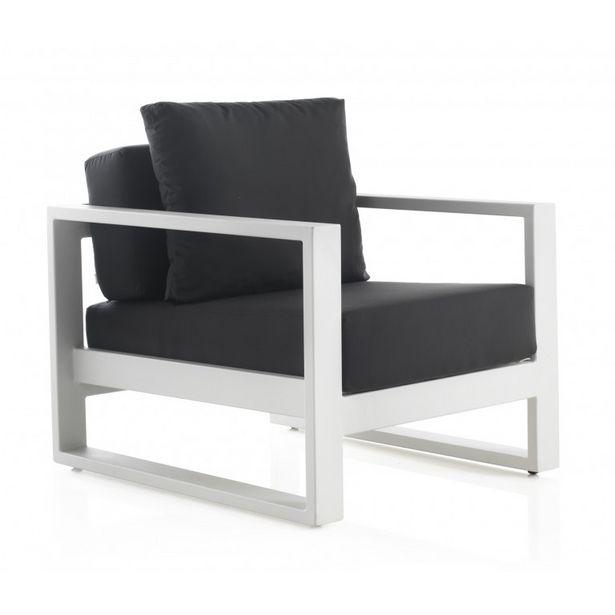 Oferta de Sillón de jardín aluminio blanco con cojines grises 2500 COLECCION BIANCO 76x90x61 GABAR OUT por 769,3€