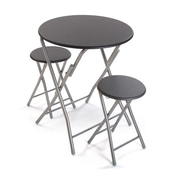 Oferta de Juego de mesa y 2 sillas color gris 21810049 por 89,9€