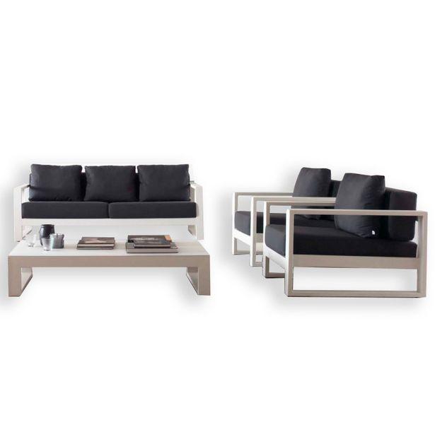 Oferta de Conjunto de jardín BIANCO de 4 piezas en aluminio en blanco y grafito GABAR OUT por 3562,3€