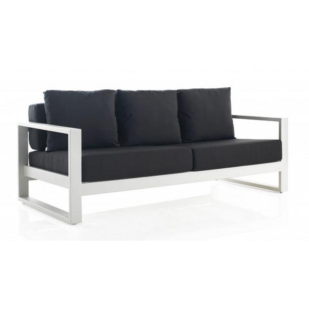 Oferta de Sofá de jardín 2501 BIANCO en aluminio blanco con cojines GABAR OUT 195x90x61 por 1553,3€