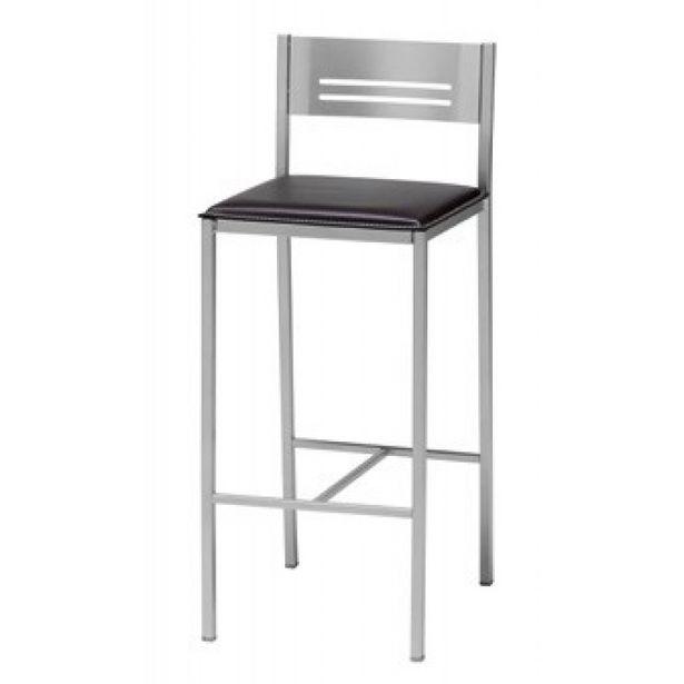 Oferta de Taburete alto de cocina con respaldo bajo y asiento polipiel por 79,9€