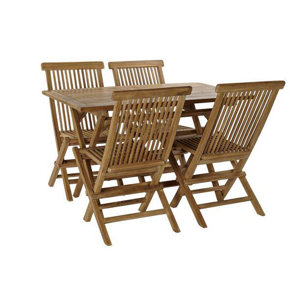Oferta de Set mesa teca 120x70x75 y cuatro sillas natural MB 166598 por 314,5€