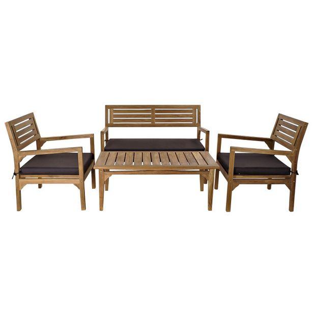 Oferta de Set 4 sofás teca 127x72x88 y mesa café MB 166603 por 604,5€
