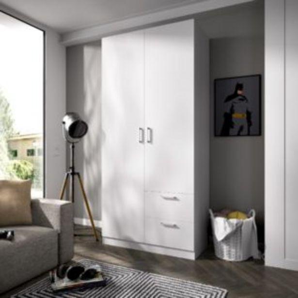 Oferta de Armario Bogotá dos puertas y dos cajones blanco por 236€