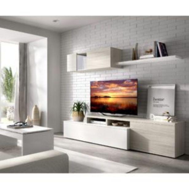 Oferta de Salón Kiev compacto blanco brillo/gris por 221€