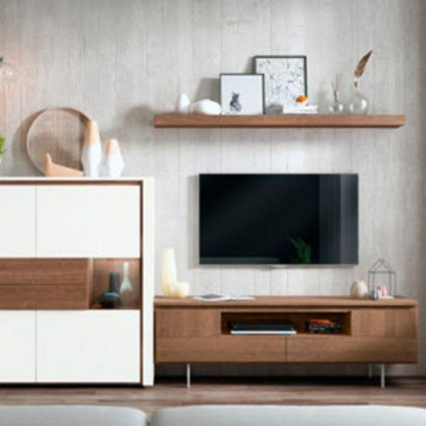 Oferta de Muebles de salón de estilo moderno en roble salvaje y blanco poro por 981€