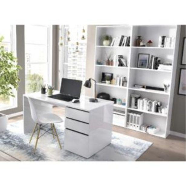 Oferta de Mesa escritorio Washington dos cajones + una puerta blanco brillo por 150€