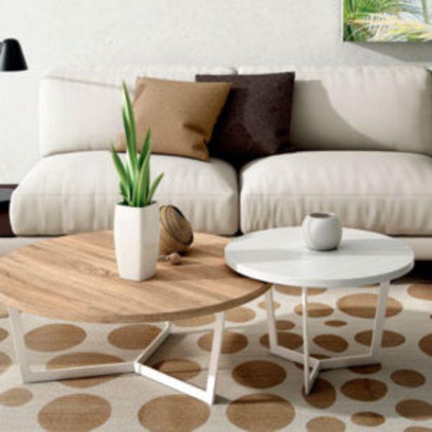 Oferta de Conjunto de mesas de centro estilo nórdico en blanco y roble por 357€