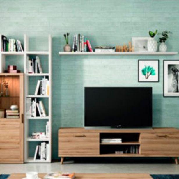 Oferta de Salón moderno con bajo tv, bodeguero y estantería en roble y blanco por 510€
