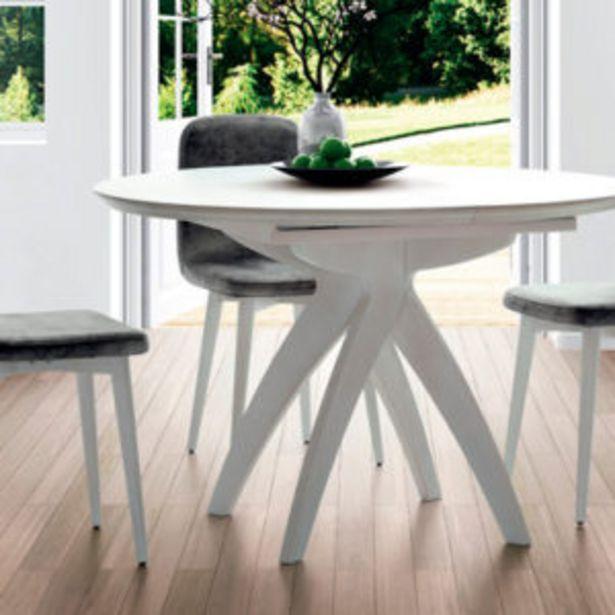 Oferta de Moderna mesa de comedor redonda lacada en blanco mate por 524€
