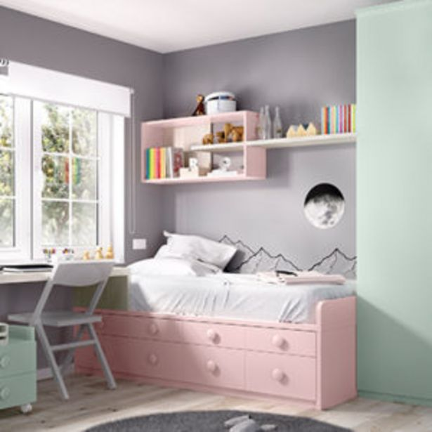 Oferta de Dormitorio juvenil con cama compacta en artic, rosa y verde por 1455€