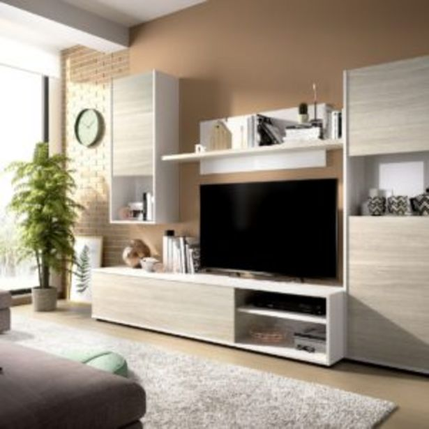 Oferta de Salón Génova modular blanco brillo/gris por 243€