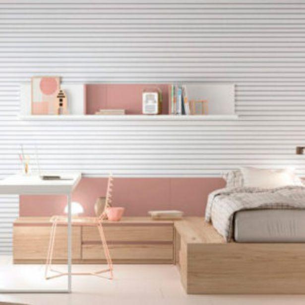 Oferta de Dormitorio juvenil minimalista con acabados en pale, blanco y mela. por 1685€
