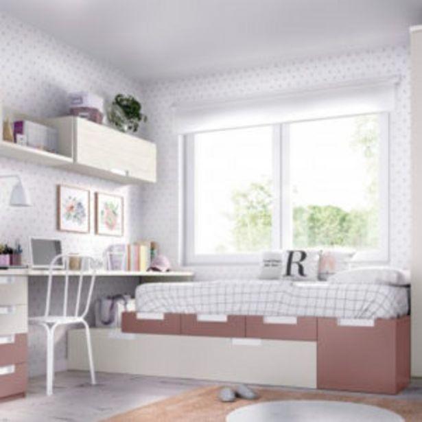 Oferta de Dormitorio juvenil con dos camas, armario y mesa en artic, gris y lila por 1251€