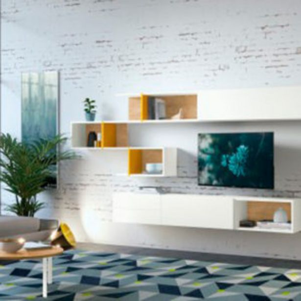 Oferta de Mueble de salón de diseño vanguardista en blanco y roble nórdico por 1185€