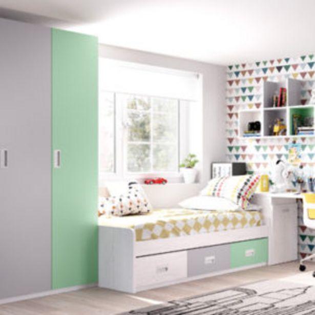Oferta de Dormitorio juvenil con acabados en artic y frentes en menta y en gris por 1083€