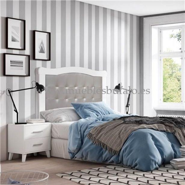 Oferta de Dormitorio de matrimonio New Plus 02 Cambrian-Nieve Cabecero y 2 mesitas Sin patas por 209€