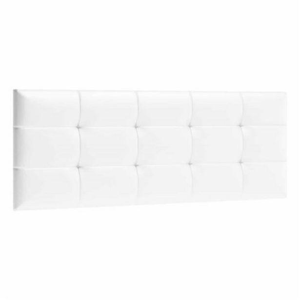 Oferta de Cabecero de cama capitoné tapizado polipiel, 160x60 cm Blanco por 68€
