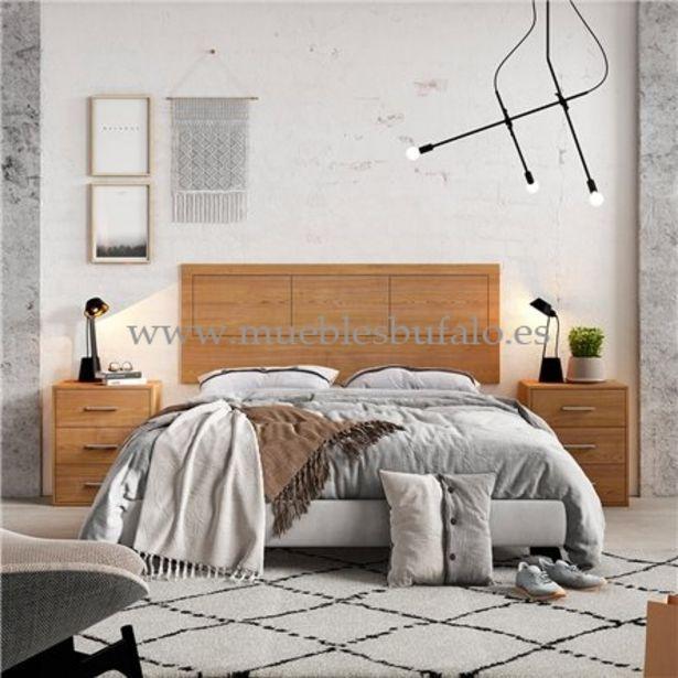 Oferta de Dormitorio de matrimonio New Plus 06 Cambrian-Nieve Cabecero y 2 mesitas Sin patas por 189€