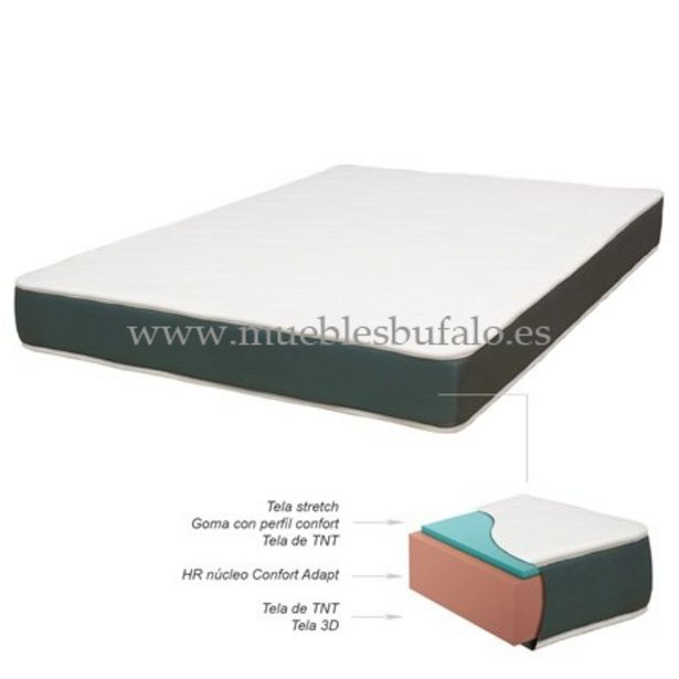 Oferta de Colchón de espuma HR Ondas Blanco 135x190 por 179€