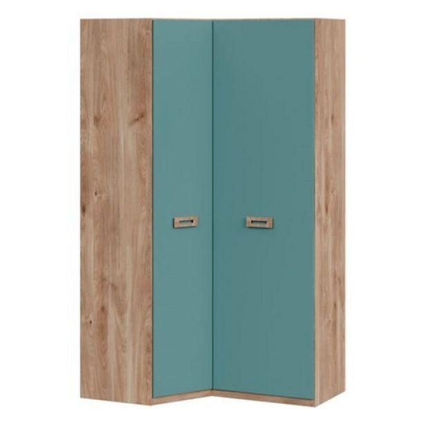 Oferta de Armario juvenil esquinero Start, 90x140x232x50 cm Roble Aqua Blue por 379€